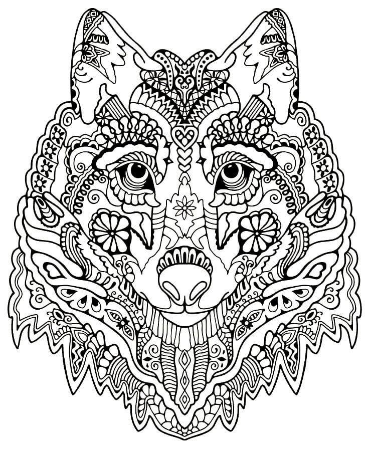 Раскраски Антистресс Волк распечатать или скачать ...