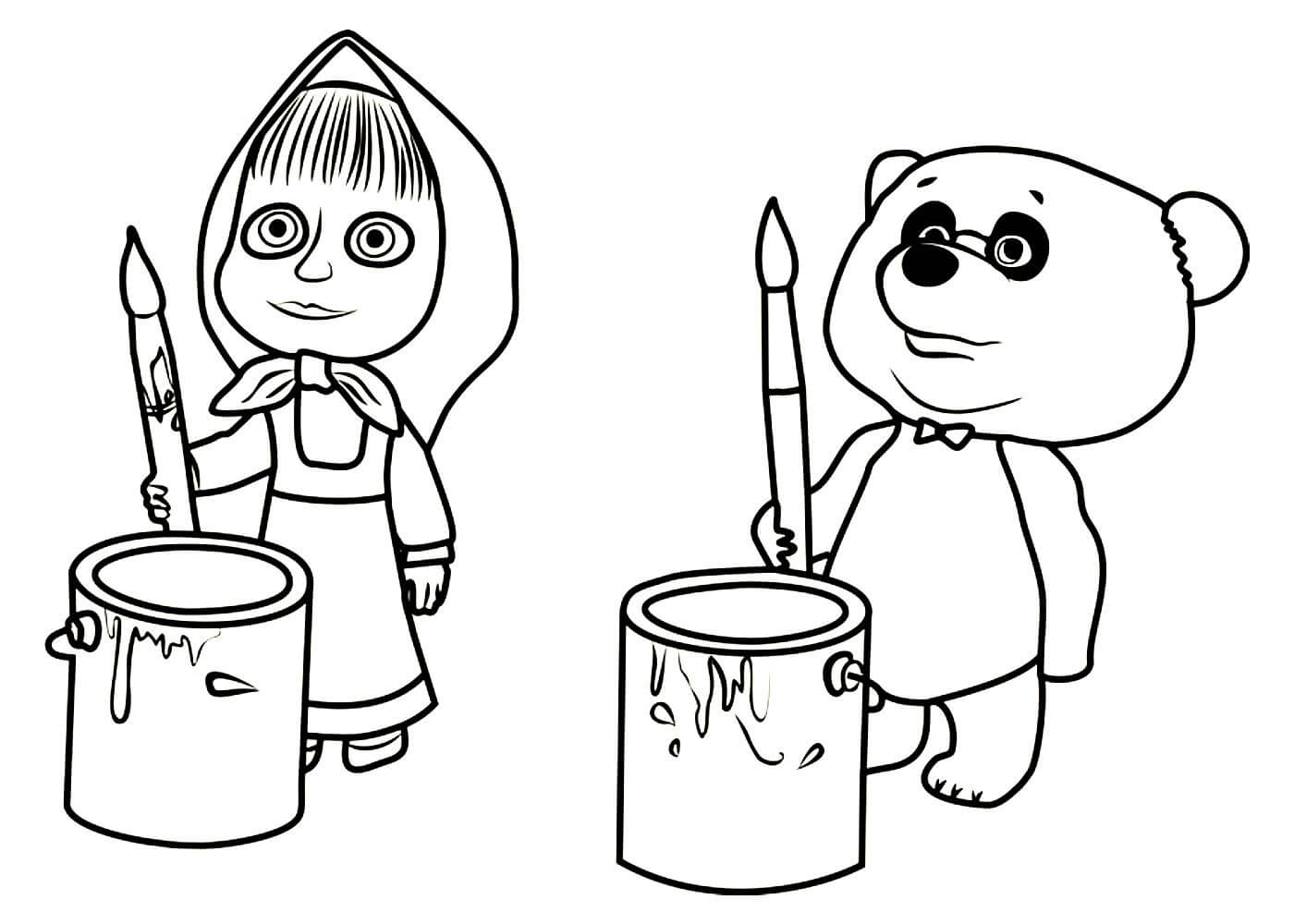 Раскраски Маша и медведь распечатать или скачать бесплатно ...