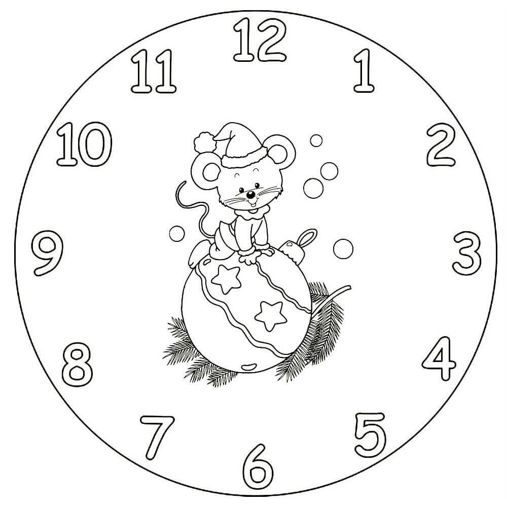 Новогодние картинки часы черно белые