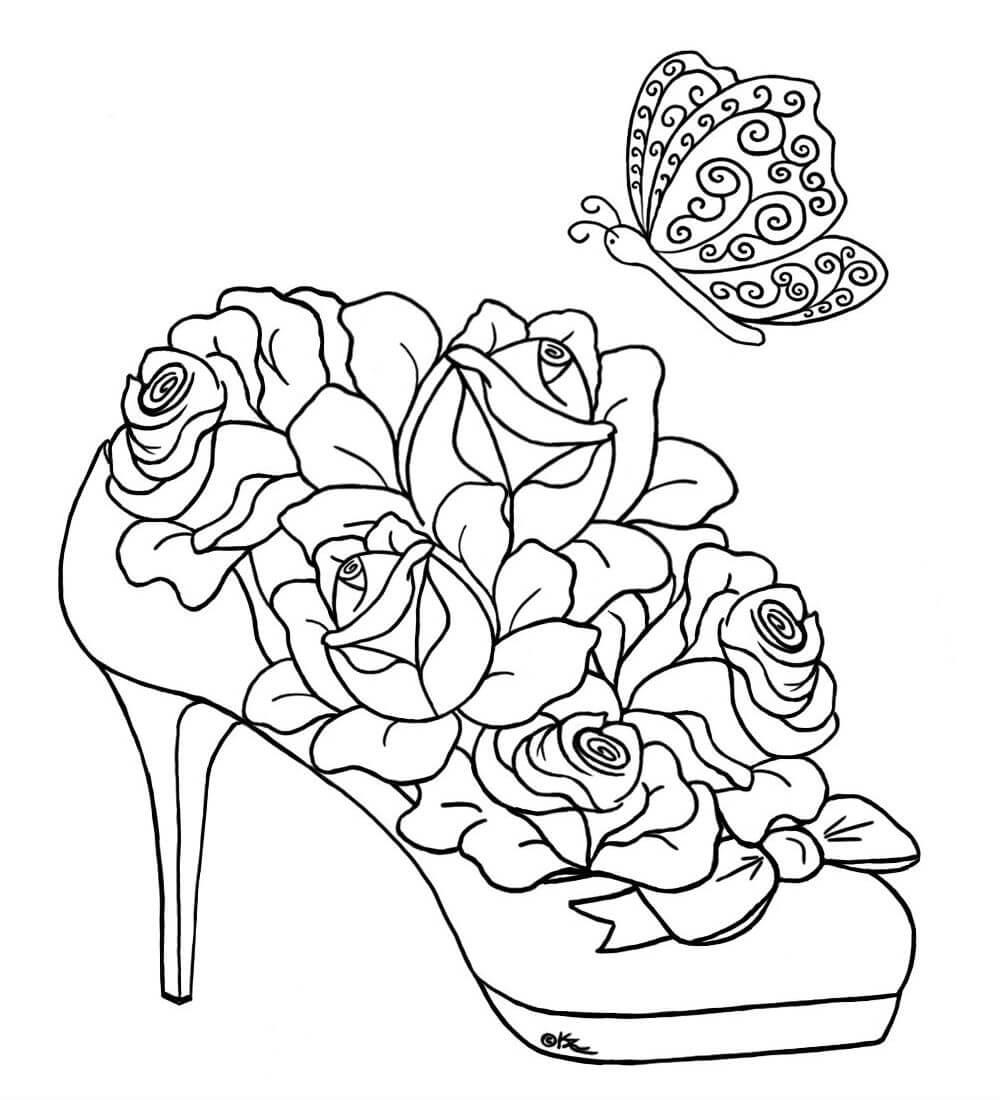 Раскраски Розы распечатать или скачать   Детские раскраски