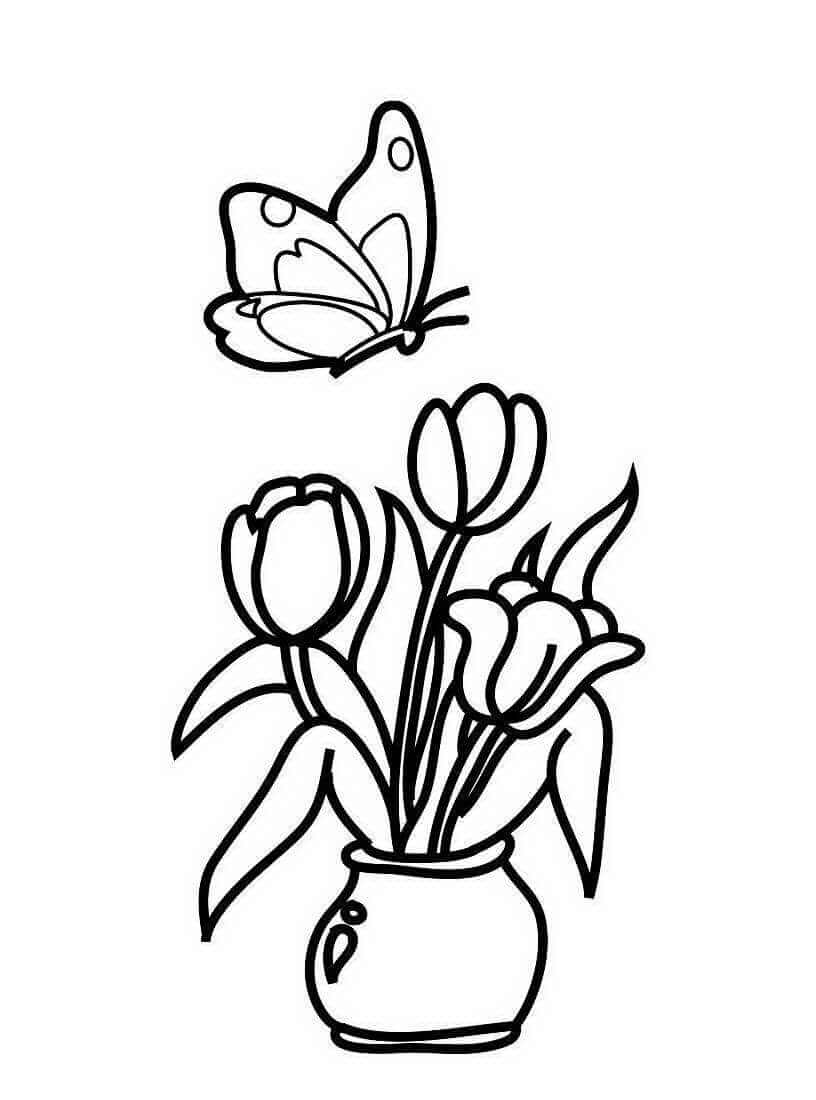 Раскраски Тюльпан распечатать или скачать   Детские раскраски