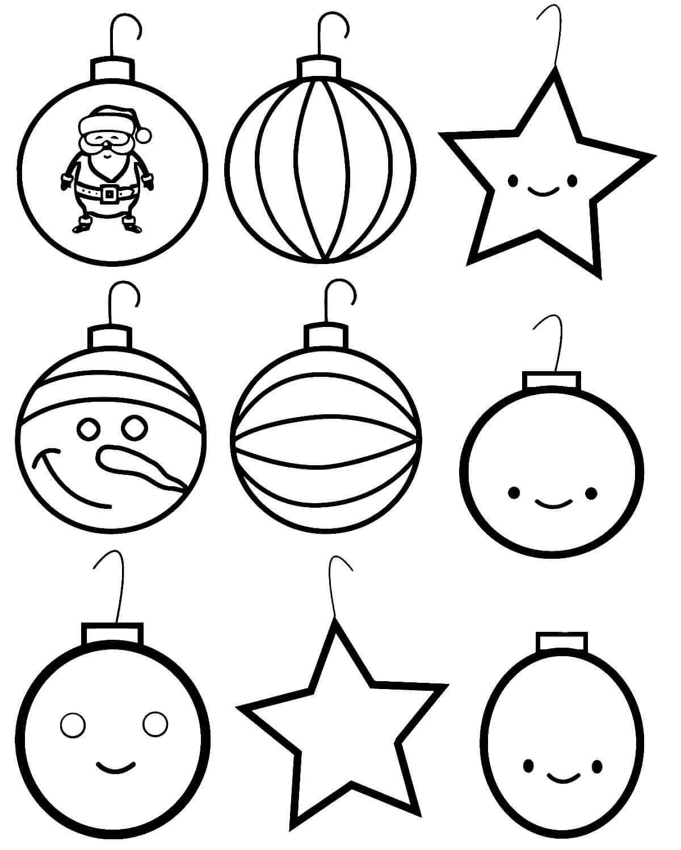 Картинки новогодние игрушки для детей раскраски